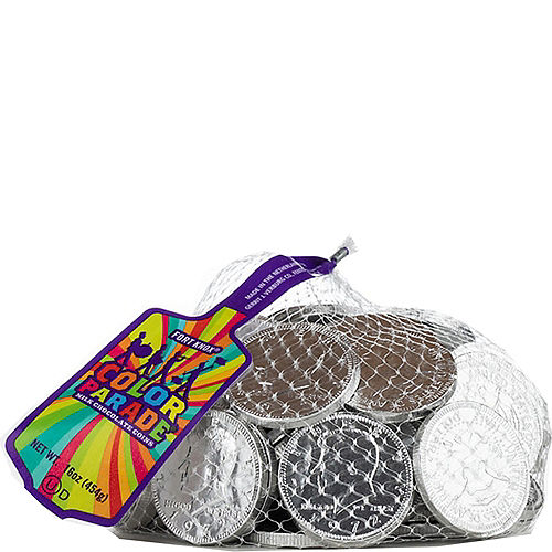 Silver Chocolate Coins 72pc Image #1