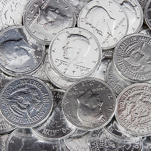 Silver Chocolate Coins 72pc Image #2