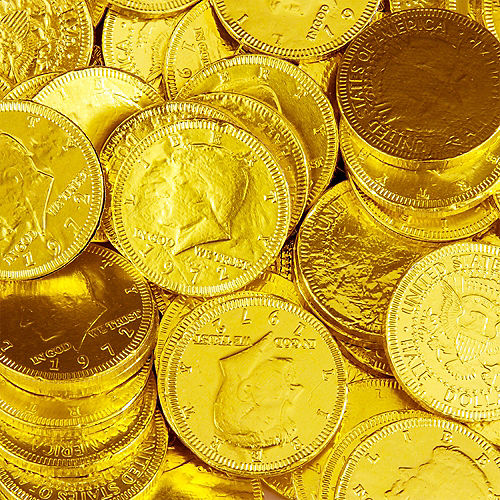 Yellow Chocolate Coins 72pc Image #2