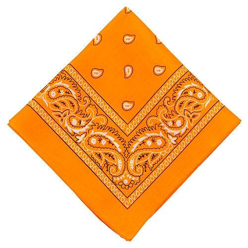 Neon Orange Paisley Bandana, 20in x 20in Image #1