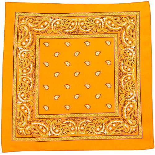 Neon Orange Paisley Bandana, 20in x 20in Image #2