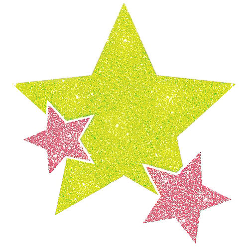 Black Light Neon Pink & Green Star Body Jewelry Image #1