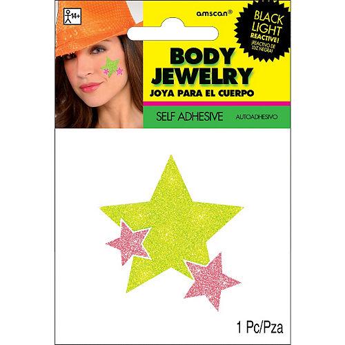 Black Light Neon Pink & Green Star Body Jewelry Image #2