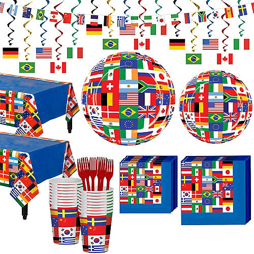 International Flag Party Supplies Deluxe Party Kit for 32 Guest Image #1