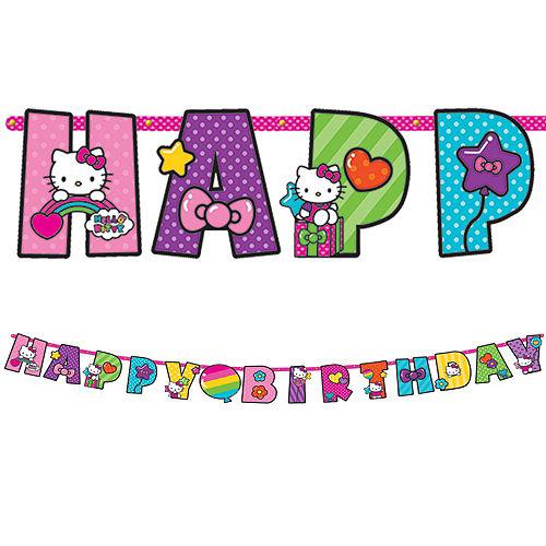Rainbow Hello Kitty Birthday Banner 10ft Image #1