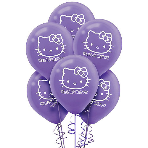 Rainbow Hello Kitty Balloons 6ct Image #1