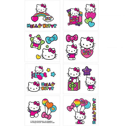Rainbow Hello Kitty Tattoos 1 Sheet Image #1