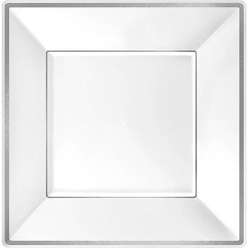 White Silver-Trimmed Premium Plastic Square Dinner Plates 8ct Image #1