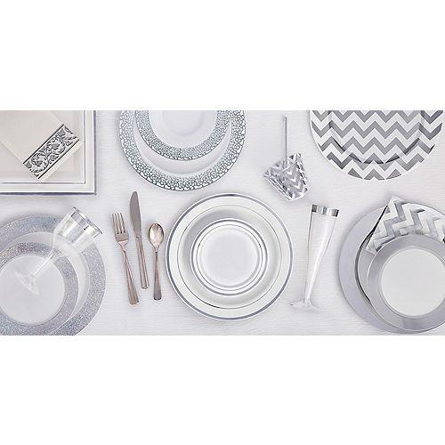 White Silver-Trimmed Premium Plastic Square Dinner Plates 8ct Image #2