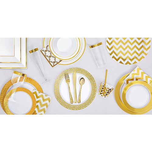 White Gold-Trimmed Premium Plastic Square Dinner Plates 8ct Image #2