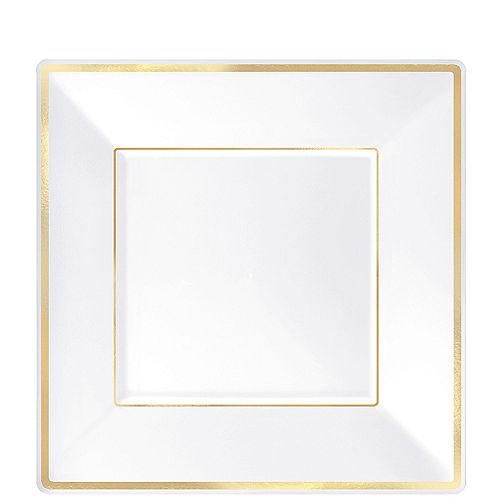 White Gold-Trimmed Premium Plastic Square Dessert Plates 8ct Image #1