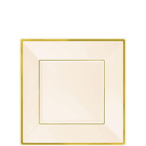 Cream Gold-Trimmed Premium Plastic Square Dessert Plates 8ct Image #1