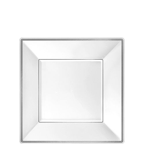 White Silver-Trimmed Premium Plastic Square Dessert Plates 8ct Image #1