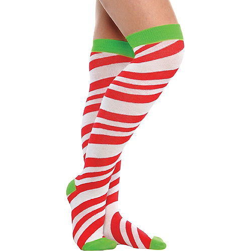 Candy Cane Striped Over-the-Knee Socks Image #1