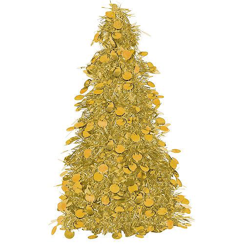 3D Gold Tinsel Christmas Tree Image #1