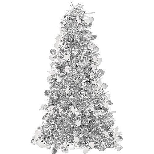 3D Silver Tinsel Christmas Tree Image #1