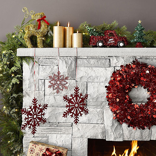Red Tinsel Wreath Image #2