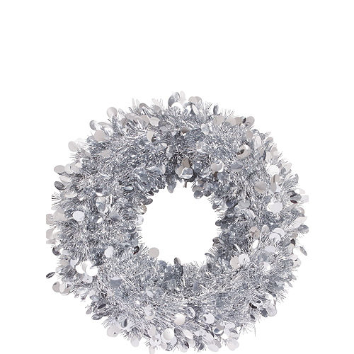 Silver Tinsel Wreath Image #1