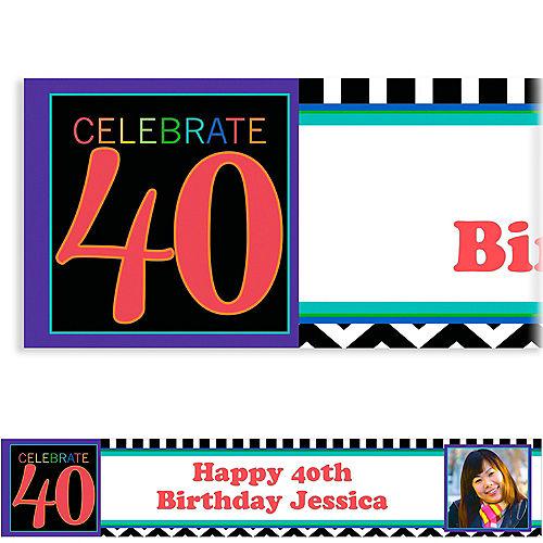 Custom 40th Celebration Photo Banner 6ft Image #1
