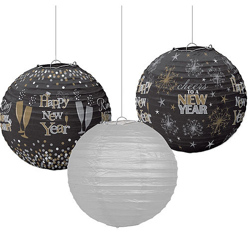 Sparkling New Year's Paper Lanterns 3ct Image #1