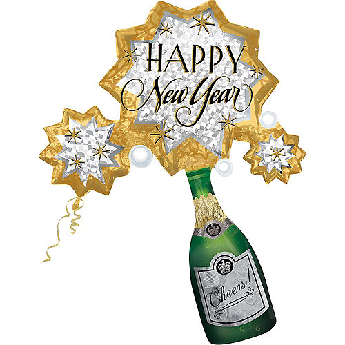 Happy New Year Balloon - Champagne Burst, 46in Image #1