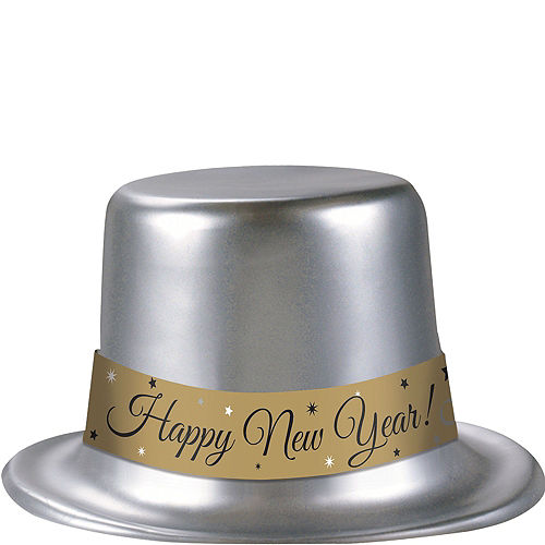 Classic Silver New Year's Top Hat Image #1