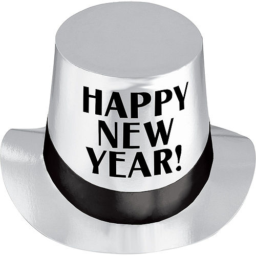 Silver Happy New Year Top Hat Image #1