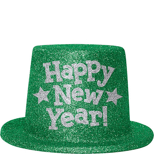 Green Glitter New Year's Top Hat Image #1