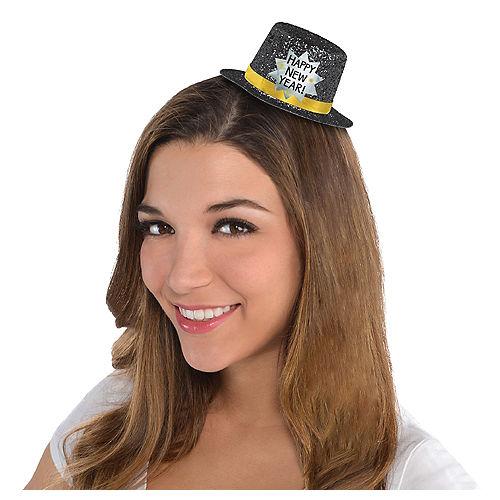 Black Happy New Year Glitter Mini Top Hat Image #1