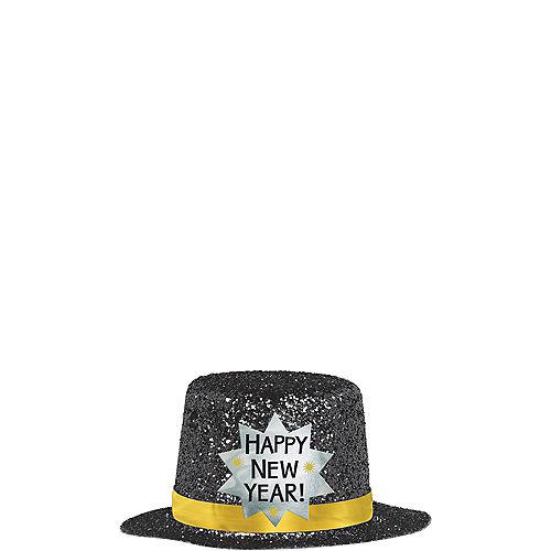 Black Happy New Year Glitter Mini Top Hat Image #2