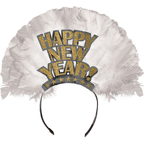 Gold Happy New Year Feather Tiara Image #1