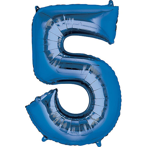 34in Blue Number Balloon (5) Image #1
