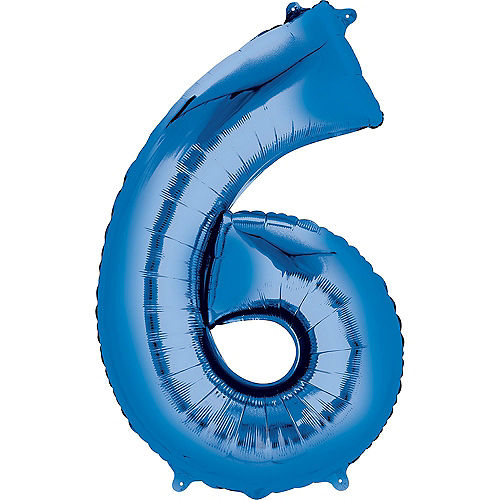 34in Blue Number Balloon (6) Image #1