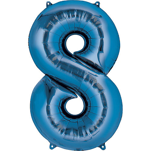 34in Blue Number Balloon (8) Image #1