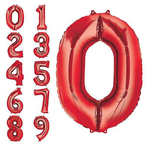 34in Red Number Balloon (0) Image #1