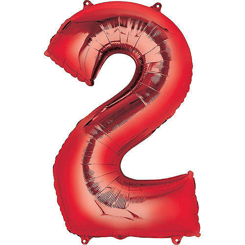 34in Red Number Balloon (2) Image #1