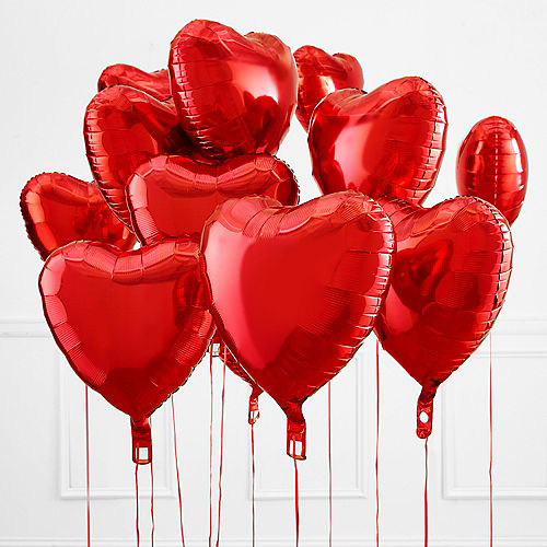 17in Red Heart Balloon with Ribbon Image #1