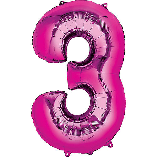 34in Bright Pink Number Balloon (3) Image #1