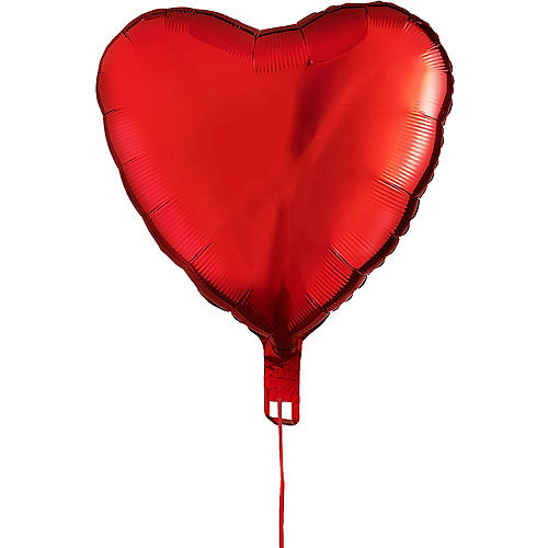 17in Red Heart Balloon with Ribbon Image #2