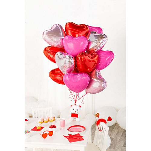 17in Red Heart Balloon with Ribbon Image #3