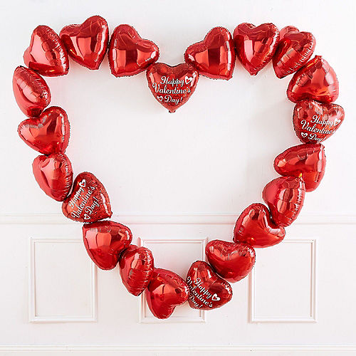 17in Red Heart Balloon with Ribbon Image #4
