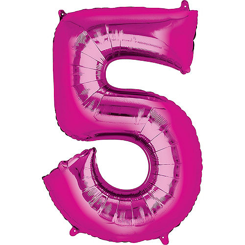 34in Bright Pink Number Balloon (5) Image #1
