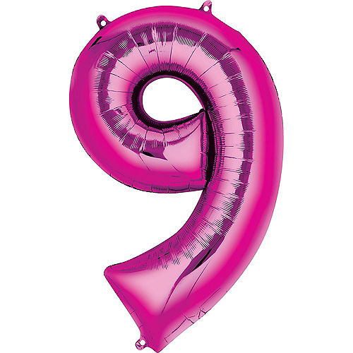 34in Bright Pink Number Balloon (9) Image #1