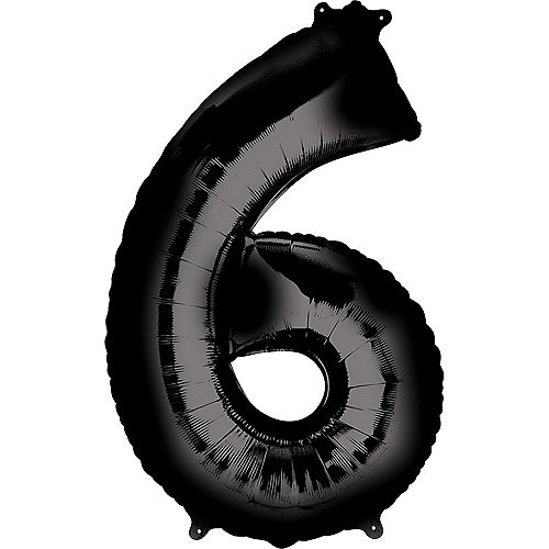 34in Black Number Balloon (6) Image #1