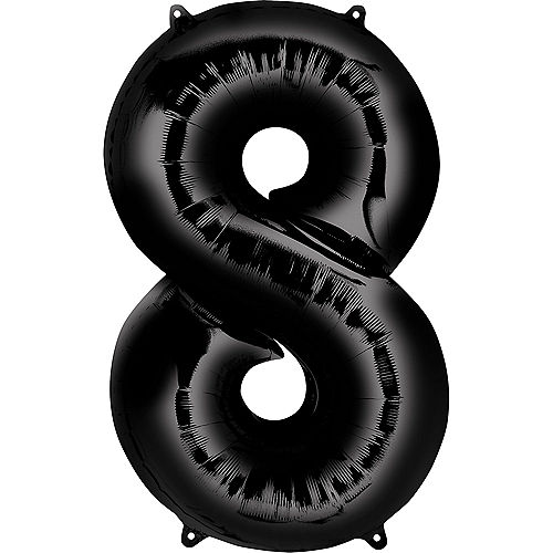 34in Black Number Balloon (8) Image #1