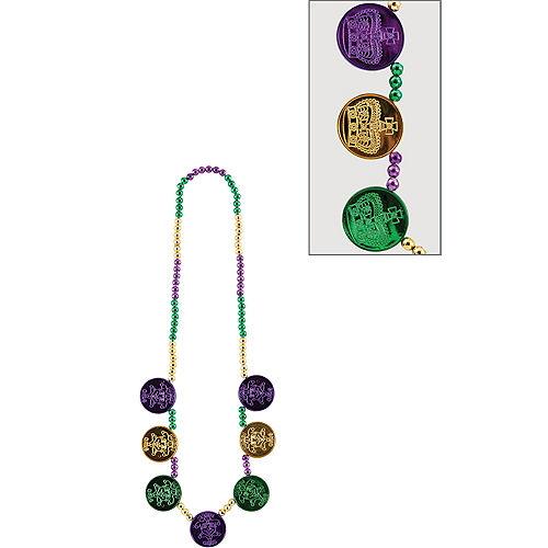 Coin Medallion Mardi Gras Bead Necklace Image #1