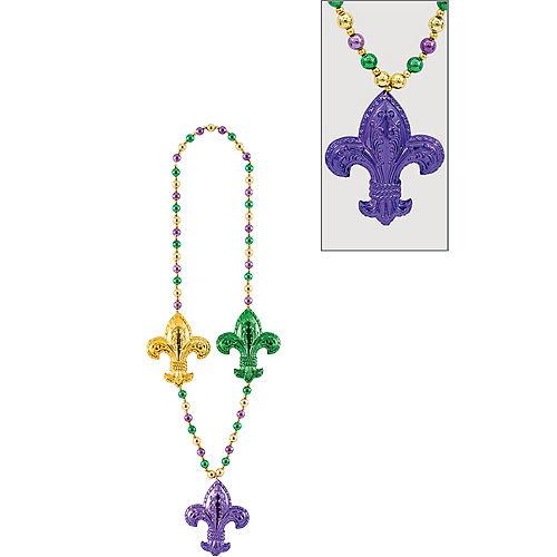 Jumbo Fleur-de-Lis Mardi Gras Bead Necklace Image #1
