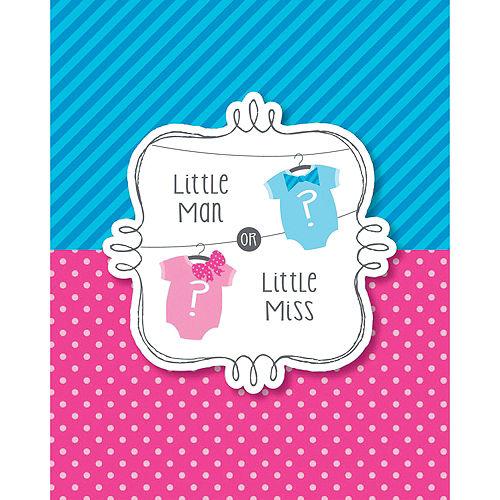 Little Man, Little Miss Gender Reveal Invitations 8ct Image #1