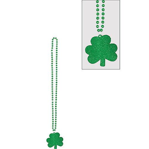 Glitter Shamrock Pendant Necklace Image #1