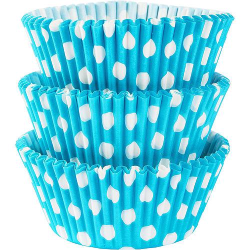 Caribbean Blue Polka Dot Baking Cups 75ct Image #1